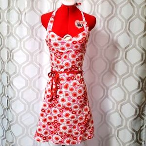 Pink, orange, and red floral print linen dress